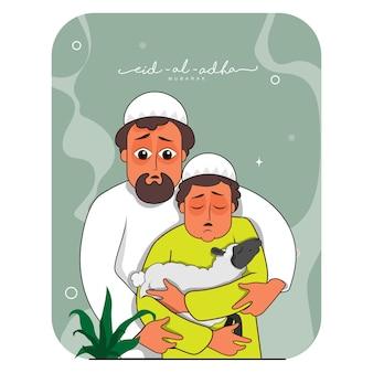 Vectorillustratie van moslimman met zijn zoon die schapen vasthoudt voor eid-al-adha mubarak concept.