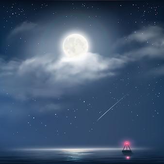Vectorillustratie van nacht bewolkte hemel met sterren, maan en zee met baken