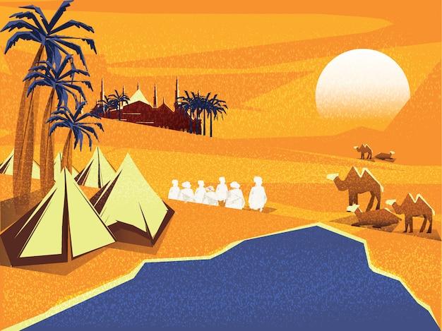 Vectorillustratie van oase in arabische woestijn. bedouin of reizigers islamitische in woestijn bidt tot god in ramadan