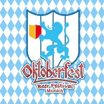 Vectorillustratie van oktoberfest logo sjabloon met wapenschild. duits festival blazoen logo. vintage badge en pictogram. hand geschetst moderne iconen. oktoberfest-etiket.