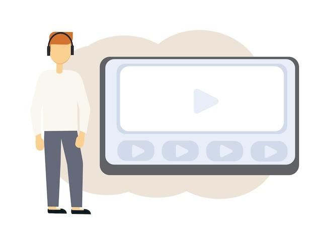 Vectorillustratie van online onderwijs met laptop monitor en man in koptelefoon
