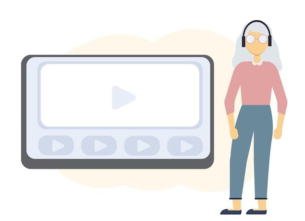 Vectorillustratie van online onderwijs met laptop monitor en vrouw in koptelefoon