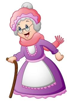 Vectorillustratie van oude vrouw met een stok lopen