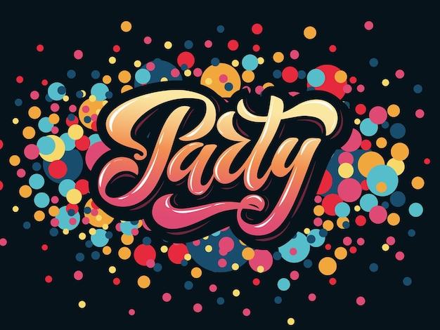 Vectorillustratie van partij poster sjabloon met 3d belettering typografie partij badge tagicon