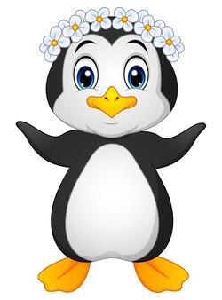 Vectorillustratie van penguin hawaiian cartoon
