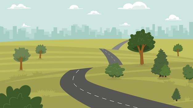 Vectorillustratie van platteland, heuvel, stad en weg