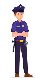 Vectorillustratie van politieagent geïsoleerd op witte achtergrond een man in een politie-uniform en wapen