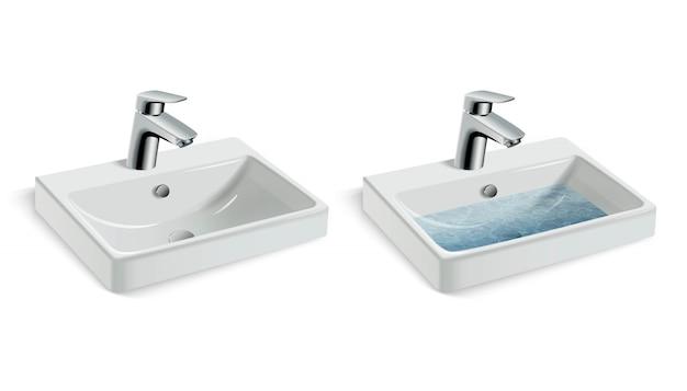 Vectorillustratie van porseleinen witte wasbak en waterkraan, met en zonder water.