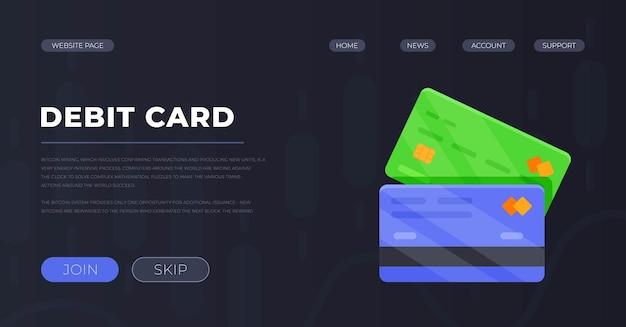 Vectorillustratie van presentatie debetkaart. het concept van bankkaarten. betaling per kaart. internetbankieren.