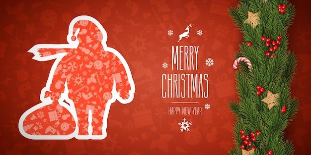 Vectorillustratie van prettige kerstdagen en gelukkig nieuwjaar banner, xmas achtergrondontwerp