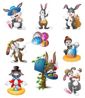 Vectorillustratie van reeks van pasen-konijntjesbeeldverhaal