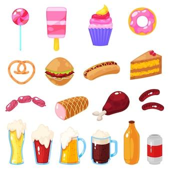 Vectorillustratie van reeks van snel voedsel op wit.