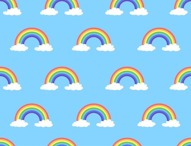 Vectorillustratie van regenboog en wolken naadloos patroon