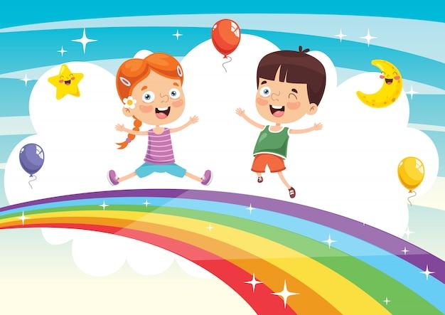 Vectorillustratie van regenboog kinderen
