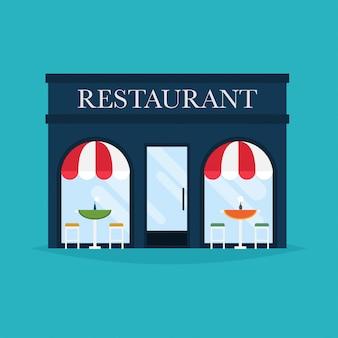 Vectorillustratie van restaurantgebouw. gevel pictogrammen. ideaal voor webpublicaties van restaurants en grafisch ontwerp.