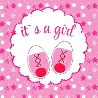Vectorillustratie van roze babyschoenen voor pasgeboren meisje