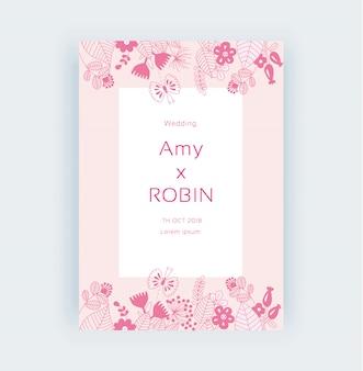 Vectorillustratie van roze bloem frame bruiloft uitnodiging kaart klaar print lijn