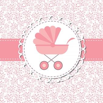 Vectorillustratie van roze kinderwagen voor pasgeboren meisje