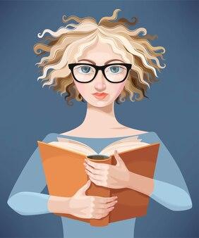 Vectorillustratie van schattig meisje met boek