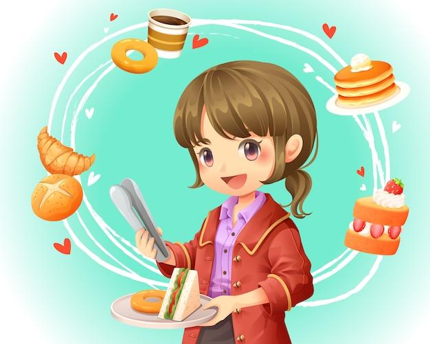 Vectorillustratie van schattig meisje winkelen op bakkerij winkel