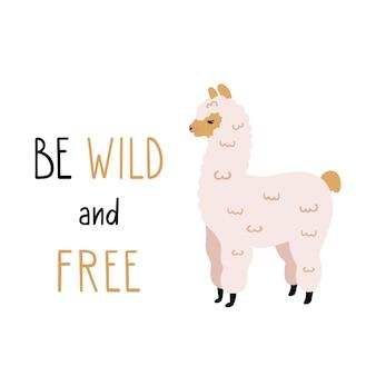 Vectorillustratie van schattige alpaca met grappige letters.