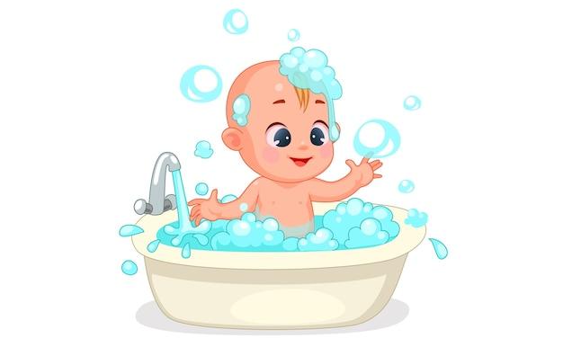 Vectorillustratie van schattige baby gelukkig baden met schuim en bubbels
