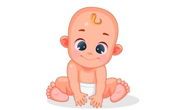 Vectorillustratie van schattige baby met verschillende uitdrukkingen