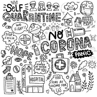 Vectorillustratie van schattige doodle voor covid-19, coronavirus doodle element voor infographic ontwerp