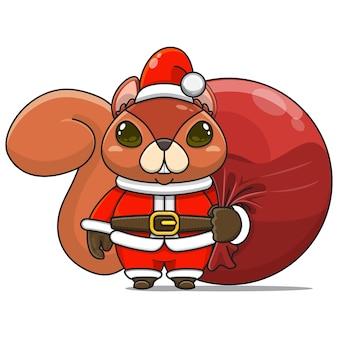 Vectorillustratie van schattige eekhoorn monster mascotte draagt santa bundel tas