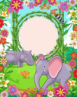 Vectorillustratie van schattige olifant en nijlpaard met bamboe leeg bord in de tuin