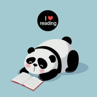 Vectorillustratie van schattige panda die een boek leest op een grijze achtergrond