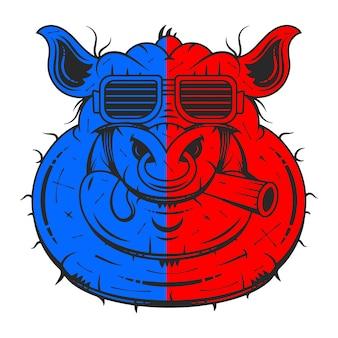 Vectorillustratie van schattige varken cartoon geïsoleerd op wit