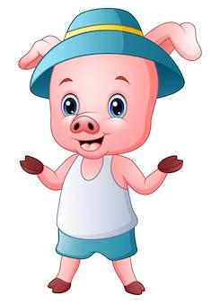 Vectorillustratie van schattige varken cartoon