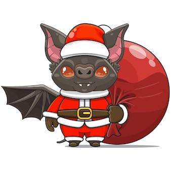 Vectorillustratie van schattige vleermuis monster mascotte draagt santa bundel tas