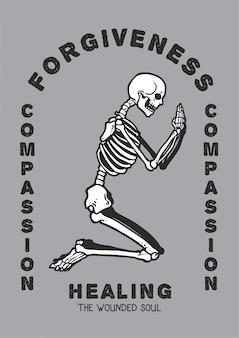 Vectorillustratie van schedel die in vereringspositie bidt die vergeving en medeleven zoekt aan het helen van de gewonde ziel.
