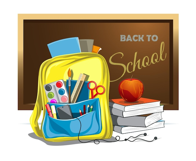 Vectorillustratie van schooltas met onderwijsobjecten