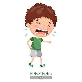 Vectorillustratie van schreeuwende kid emotie
