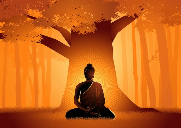 Vectorillustratie van siddhartha gautama verlicht onder bodhiboom, verlichting van de boeddha onder de bodhiboom