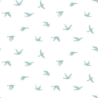 Vectorillustratie van silhouet van vogels. naadloos patroon met platte contouren van vliegende vogels