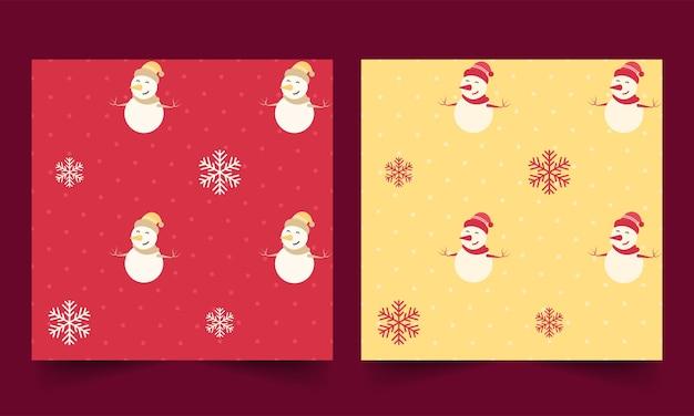 Vectorillustratie van sneeuwpop en sneeuwvlokken op gestippelde achtergrond in twee kleuropties.