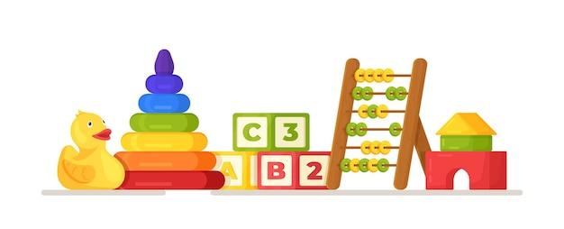 Vectorillustratie van speelgoed concept. een heleboel kinderspeelgoed, kubussen, scorekeepers en de rest. kinderspullen om mee te spelen. kleuterschool