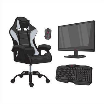 Vectorillustratie van stoelen en spelapparatuur