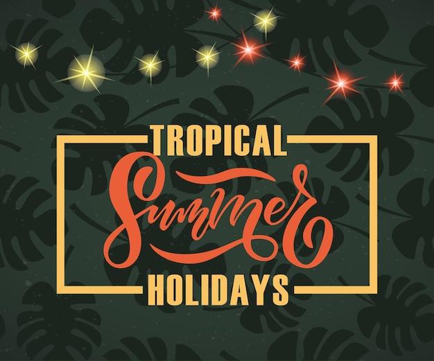 Vectorillustratie van summer party poster met palmbomen en jungles summer party badge labelpictogram