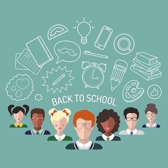 Vectorillustratie van terug naar school in vlakke stijl. educatieve achtergrond met studenten en leerlingen pictogrammen.