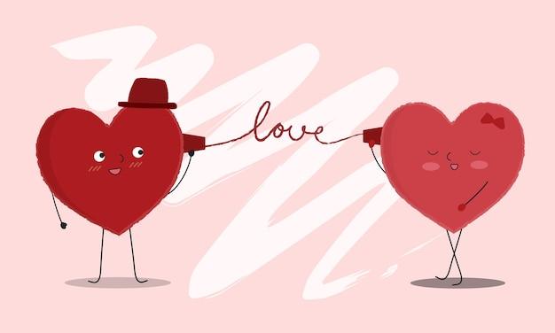 Vectorillustratie van twee gelukkige harten die elkaar bekijken en via telefoon spreken.