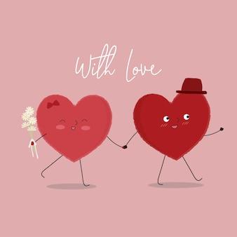 Vectorillustratie van twee gelukkige harten die met elkaar lopen.