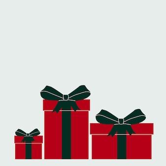 Vectorillustratie van twee geschenkdozen met bogen. wenskaart met een heleboel geschenkdozen voor kerstmis of nieuwjaar