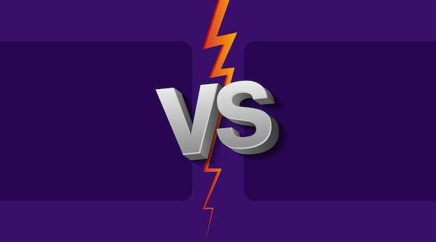 Vectorillustratie van twee lege frames en vs letters op ultraviolette achtergrond met bliksem.