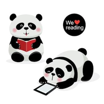 Vectorillustratie van twee schattige panda's met leesconcept
