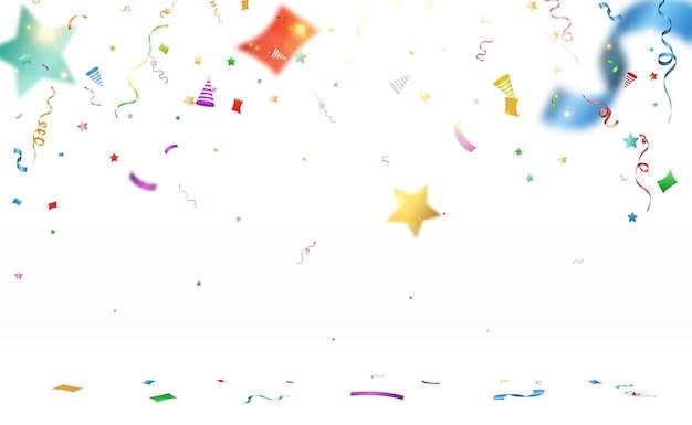 Vectorillustratie van vallende confetti op een transparante achtergrond